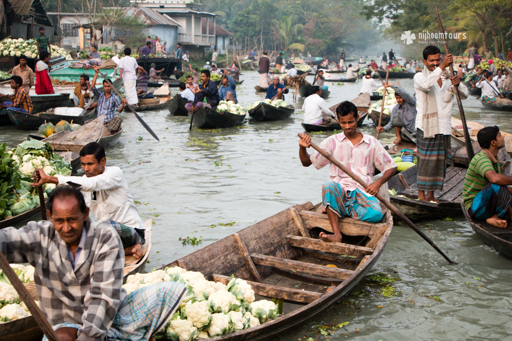 A floating vegetable market at Barisal in Bangladesh. Number nine among the best places to visit in Bangladesh.