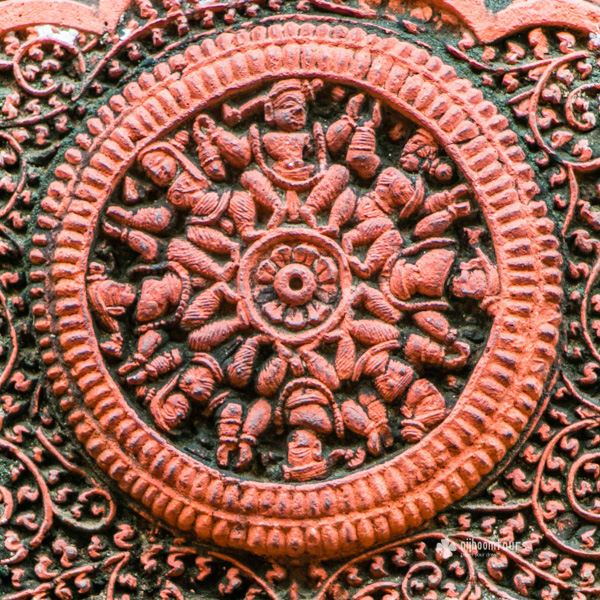 Terracotta decoration in the wall of Kantaji Temple in Bangladesh