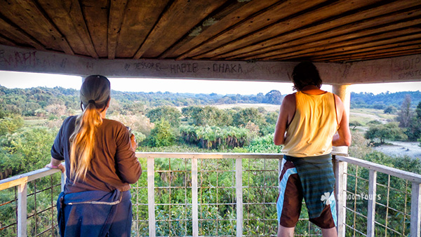 Lisa Baker and Christopher Aroa at the observation tower in Sundarbans