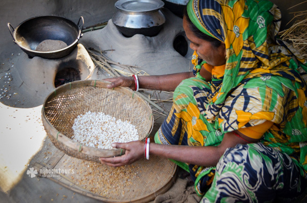 Making popcorn in a village