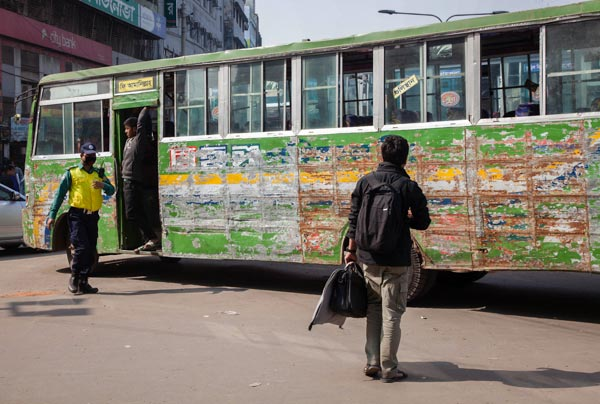 Bus full of scratches in Bangladesh