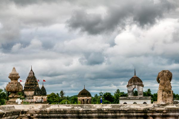 The skyline of Puthia Temple Village