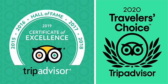 Winner of TripAdvisor Certificate of Excellence Award in 2015, 2016, 2017, 2018, and 2019