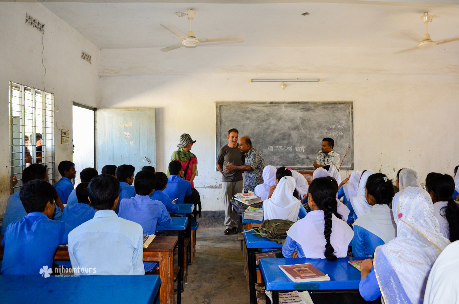 Suzan & John Skovron from USA visiting a school in southern Bangladesh in October, 2016, during their 5 days holiday