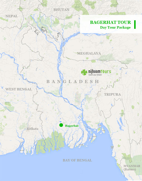 Day tour map to 15th century Mosque city of Bagerhat