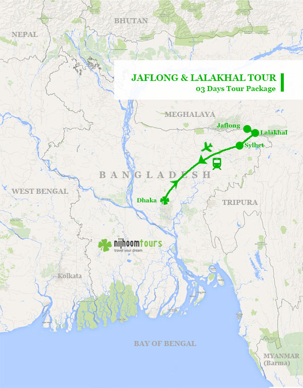 Jaflong and Lalakhal Tour Map