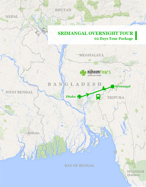 Srimangal Overnight Tour Map