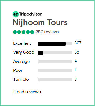 Nijhoom Tours has 350+ reviews on TripAdvisor with an average rating of 5 on 5